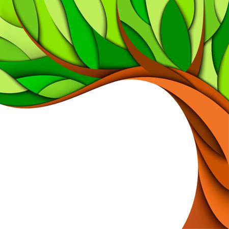 paper cutout: Summer tree background  Vector illustration Illustration