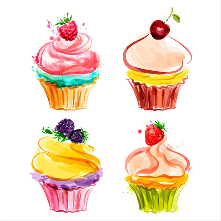 Cupcakes with cream and berries  Vector illustration Vectores