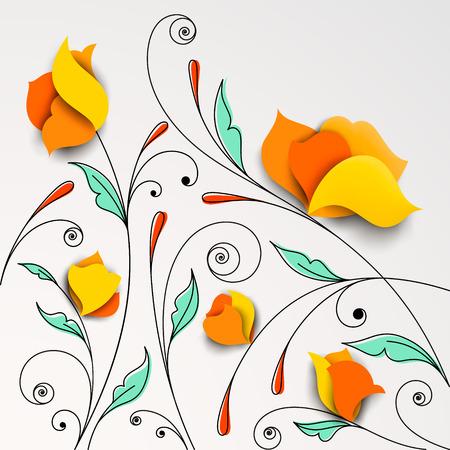 Fondo floral con flores de papel ilustración vectorial