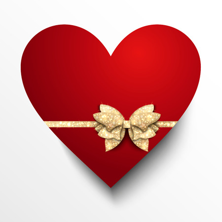Red paper heart with gold bow. Vector design