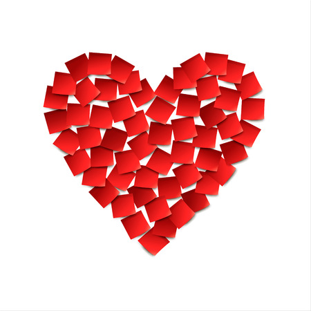 Heart. Red paper stickers. Vector illustration
