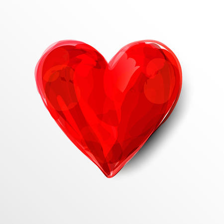 Painted red heart. Watercolor. Vector illustration