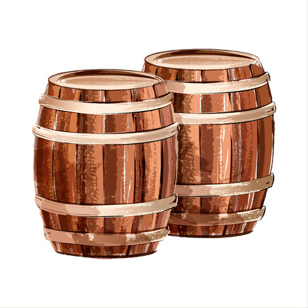 Wooden barrel. Watercolor sketch. Vector illustration