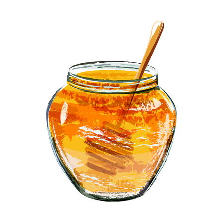 scetch: Glass jar of honey with wooden dipper. Watercolor scetch. Vector
