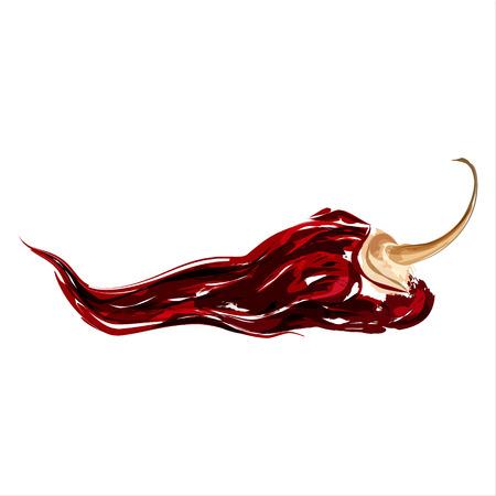 Chipotle. Gedroogde pittige chili peper. Waterverfschets. Vector Stock Illustratie