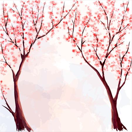 벚꽃. 수채화 그림