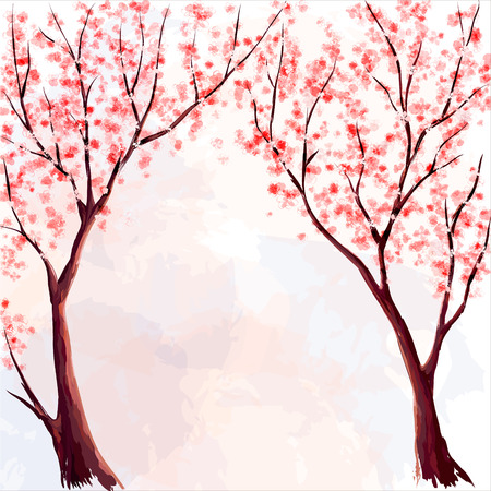 peach tree: Cherry blossom. Watercolor illustration Illustration
