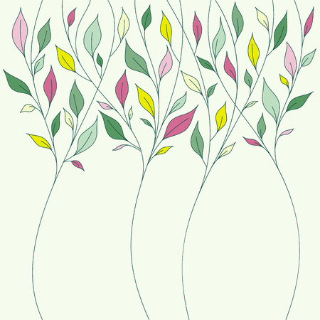 Floral design with fresh spring leaves. Abstract illustration