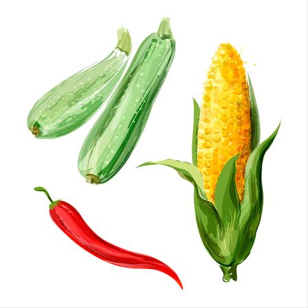 Set of watercolor vegetables. Sketches Illustration