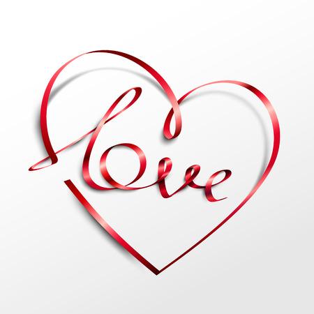 Red ribbon heart with Love inscription. Vector illustration Illustration