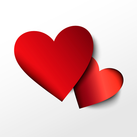 Two red paper hearts on white background.  Vector icon