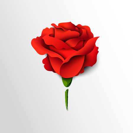 Red rose cut out of paper. Floral background.Vector Illustration