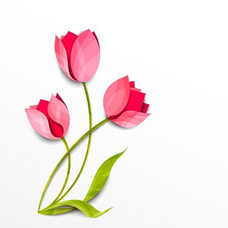 Tulips. Bouquet of flowers isolated on white. Vector paper art. Spring floral background Illustration