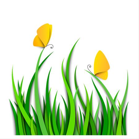 Green grass border with butterflies. Paper art. Vector Illustration