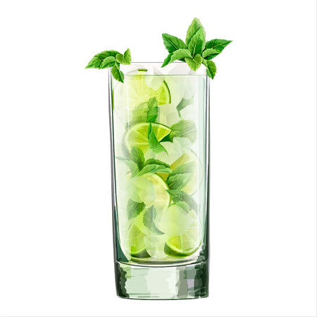 Watercolor  illustration of  alcoholic cocktail. Classic mojito. Lime, mint leaf, ice. All elements are isolated.