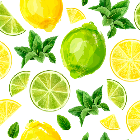 Seamless pattern with citrus fruits. Lime, lemon and mint on white background. Watercolor collection. Vector