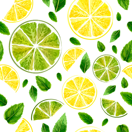 Seamless pattern with slices of lime, lemon and mint leaves on white background. Watercolor collection. Vector