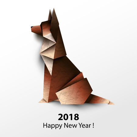 Dog German shepherd. Colored paper origami. Vector illustration. 2018 Happy New Year.