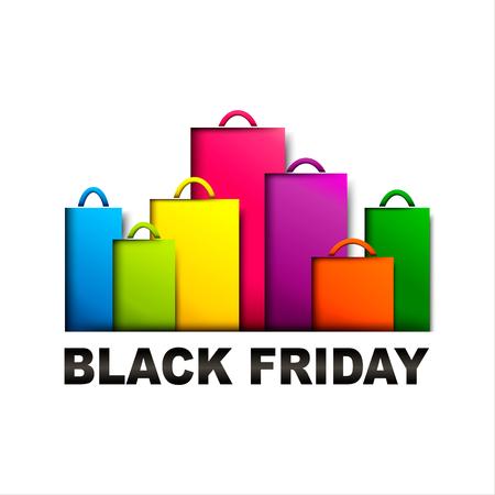 Black friday. Colorful paper shopping bags. Sale banner design. Paper cut vector illustration Illustration
