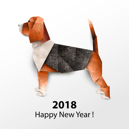 Dog Beagle. Colored paper origami. Vector illustration. 2018 Happy New Year