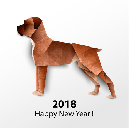 Dog Boxer. Colored paper origami. Vector illustration. 2018 Happy New Year. Illustration