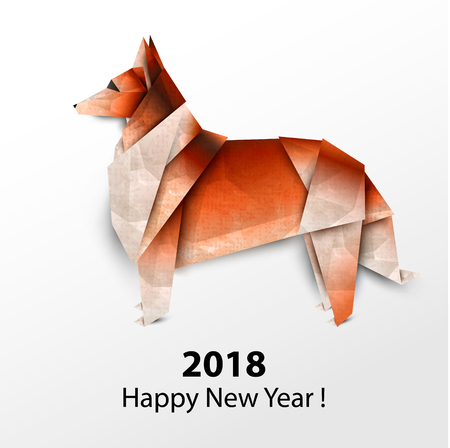 Dog Collie. Colored paper origami. Vector illustration. 2018 Happy New Year