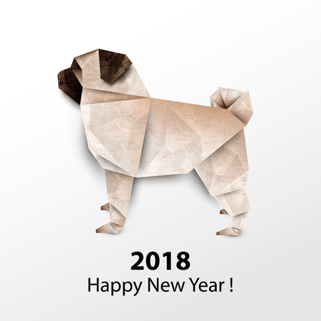 Dog Pug. Colored paper origami. Vector illustration. 2018 Happy New Year
