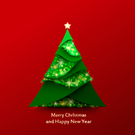 Red Christmas Background with Christmas tree made of green and sparkle paper. Applique vector illustration Illustration