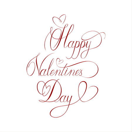 Calligraphic inscription. Happy Valentines Day greeting card. Vector illustration. Elegant ornate lettering with swirls