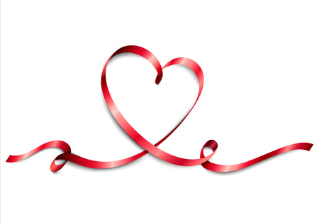 Heart from red ribbon on white backround. Valentines Day. World Heart Day label. Medical concept. Vector illustration.