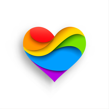 Heart in LGBT colors. Vector illustration on  white background. Paper art style Illustration