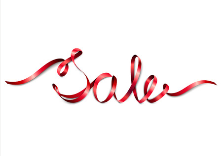 Word Sale from red ribbon. Isolated on white background. Valentines Day. Christmas