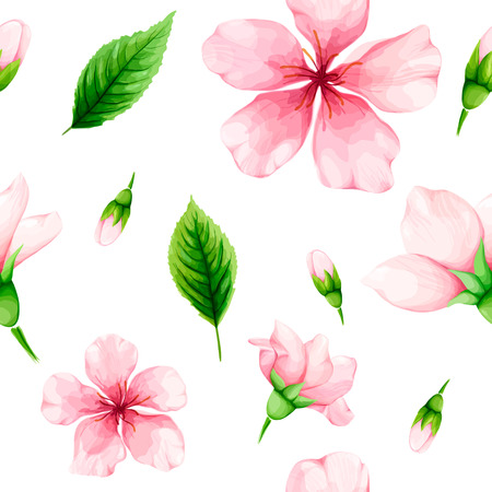 Cherry blossom. Seamless pattern of pink flowers and green leaves. Spring watercolor vector illustration