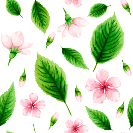Seamless pattern of pink cherry flowers and green leaves on white background. Spring watercolor vector illustration