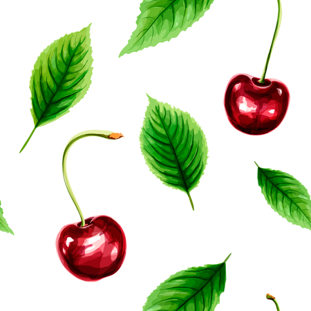 Seamless pattern with ripe cherry and green leaves. Spring and summer watercolor background vector illustration