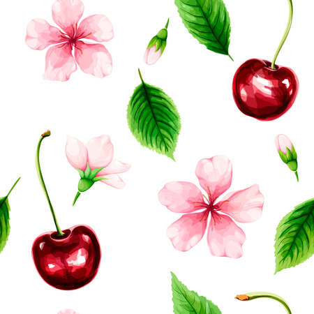 Seamless pattern with ripe cherry, green leaves and pink flowers. Illustration
