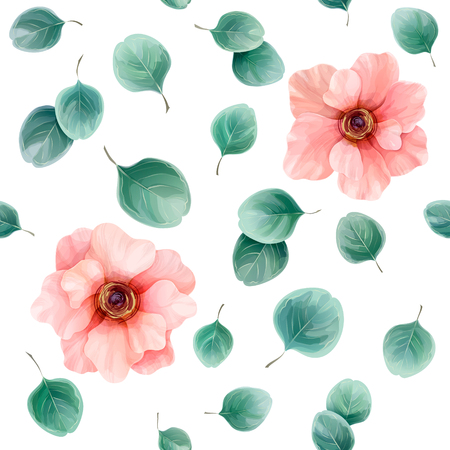 Seamless floral pattern with pink anemones and eucalyptus leaves. Vector illustration