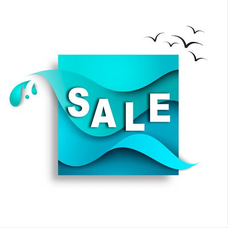 Sale banner template design on the background of sea waves. Paper vector illustration
