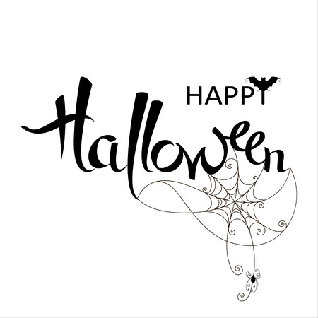 Happy Halloween banner on a white background. Vector lettering with web and spider.  Poster, greeting card, party invitation Illustration