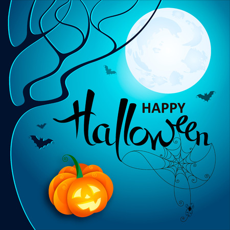 Halloween night. Vector lettering Happy Halloween with web, spider and bats on blue Moon background with pumpkin. Vector illustration for poster, greeting card, party invitation, flyers Illustration