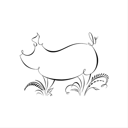 Drawing of pig silhouette made in one line with calligraphic elements. Happy chinese new year 2019 Zodiac sign. Minimalistic vector illustration