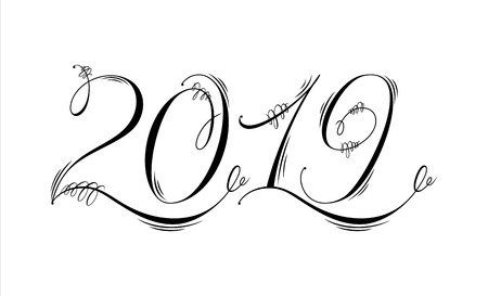 2019 hand written lettering. Flourishing and ornamental calligraphy. Happy New Year card design. Vector illustration