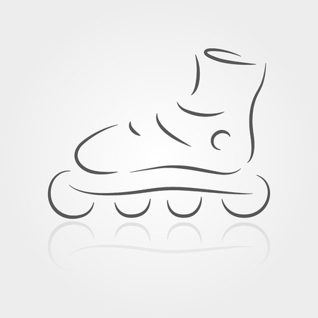 rollerblade: Rollerblade drawing on gray foneyu. The concept of leisure. Rollerblade logo.