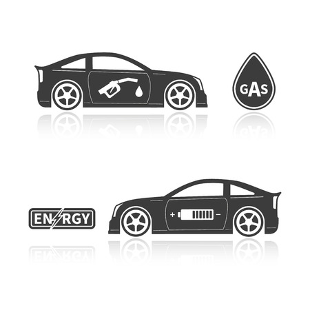 alternatives: Car silhouettes isolated on white background. Gas car and eco car.  Сoncept alternatives. Vector illustration Illustration