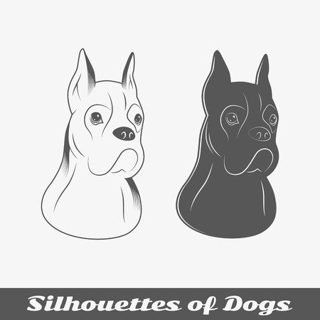 Silhouettes of purebred dogs. Isolated objects. Vector illustration Vector