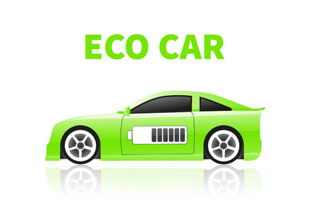 oncept: Car silhouettes isolated on white background. Сoncept eco car. Vector illustration