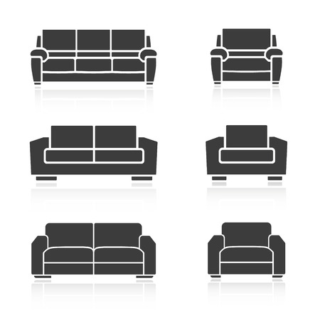 A set of sofas and armchairs on a white background. Vector