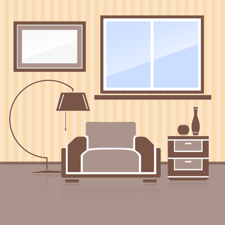 headboard: Interior space for relaxation. Furniture on wall background. Vector illustration.