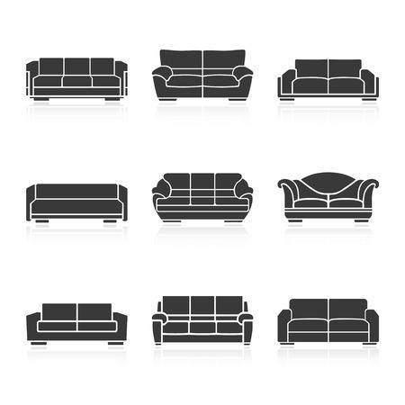 ergonomie: Eine Reihe von schwarzen Sofas auf einem wei�en Hintergrund. Vektor