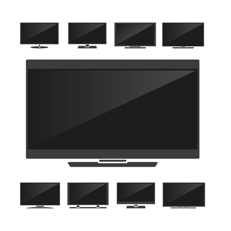 flat panel monitor: Set of silhouettes TV isolated on white background. Vector illustration
